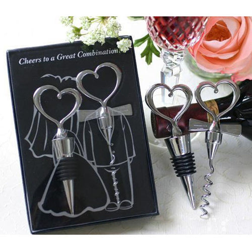 Bride & Groom Couples Corkscrew Wine Bottle Opener + Wine Stopper Wedding Set Decoration