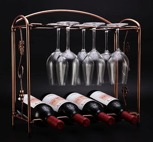 Iron Wine Bottle & Glass Rack Holder Shelf