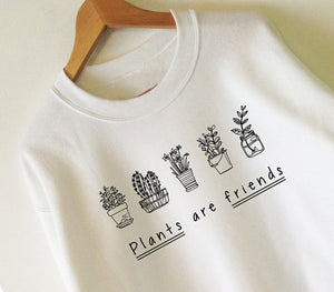 Plants R Friends Womens Vegan Cactus Succulent Sweatshirt