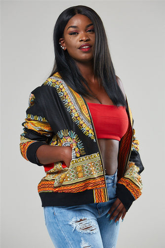 African Wakanda Queen Womens Angelina Print Dashiki Bomber Jacket Coat