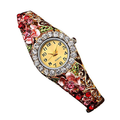 Women Luxury Crystal Flower Bracelet Watch