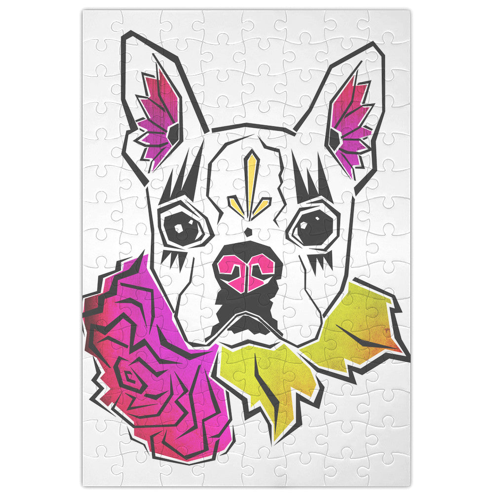 Boston Terrier Floral Sugar Skull Jigsaw Puzzle for Pet Loving Kids or Adults Wall Art