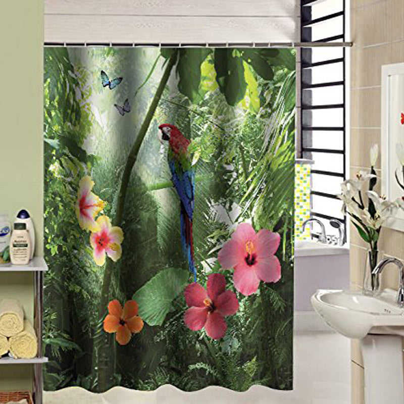 Tropical Flower Forest Parrot Bathroom Shower Curtain ; Hooks Included