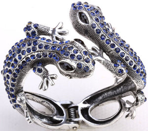 Crystal Gem Gecko Lizard Bangle Bracelet