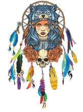 Wolf Headdress Removable Decal Wall Sticker Native American Indian Feathers