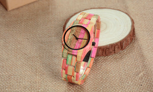 Women's MultiColor Bamboo Wood Watch Band