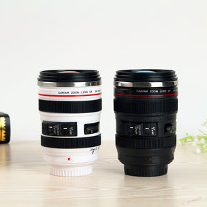Stainless Steel Camera Lens Coffee Mug Cup With Lid