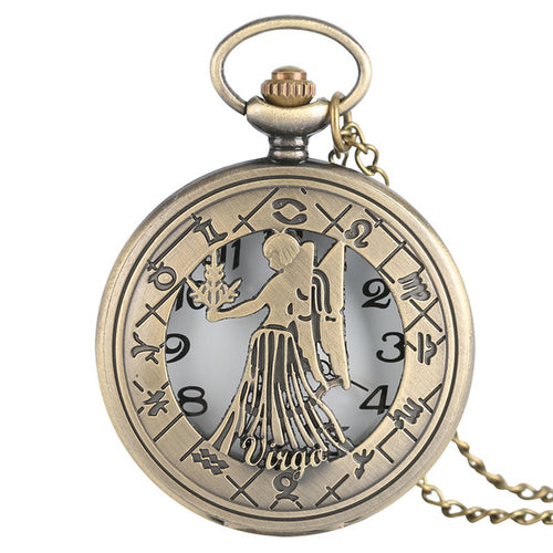 Retro Vintage Zodiac Pocket Watch Necklace Chain