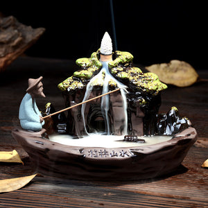 Ceramic Fisherman Incense Stick & Cone Holder Burner Decor ; comes with 10 cones
