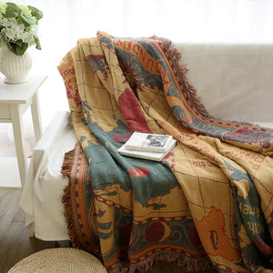 Vintage Around The World Map Blanket
