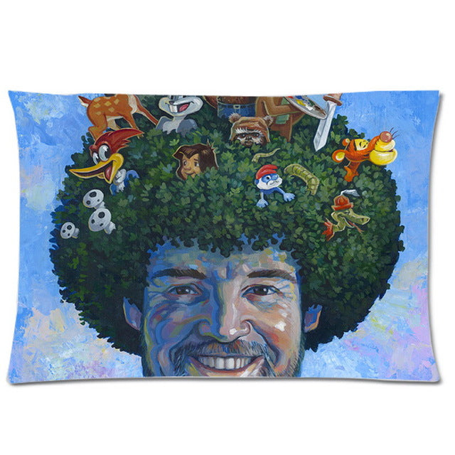 Bob Ross Happy Little Tree Fro Pillow Case ; 20