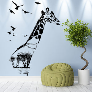 Wilderness Forest Giraffe Removable Wall Sticker Decal Home Room Decor