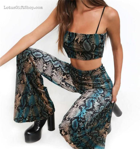 Kobrat Snake Print Women's Two Piece Crop Top & Trousers Stretch Set