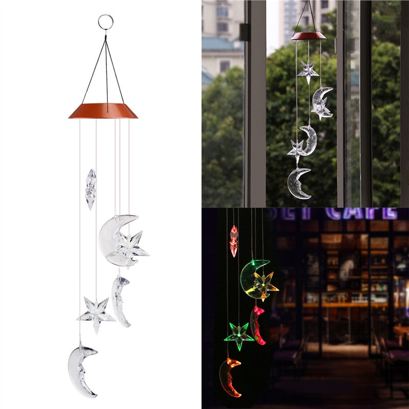 Stars & Moon Solar Powered Wind Chime with LED Color Changing Lights for Outdoor Garden Patio Decor
