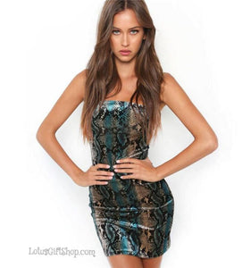 Women's Kobrat Snake Print Spaghetti Strap Bodycon Mini Dress