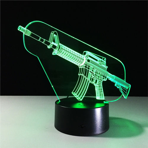 AR-15 Gun Shaped Lamp Color Changing Desk Night Light Ornament