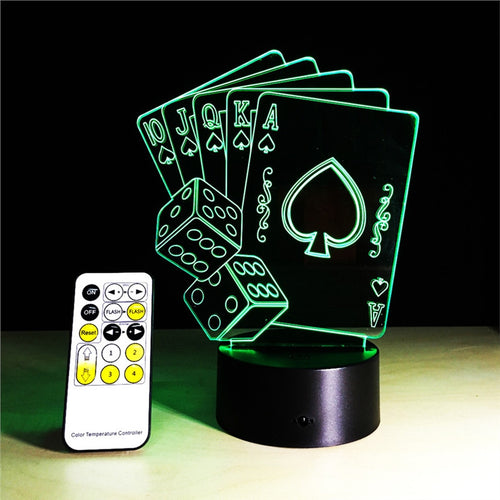 Card & Dice Color Changing Lamp with Remote Control