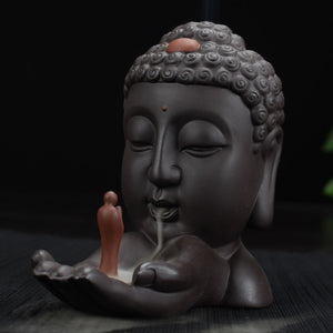 Buddha Head Incense Stick & Cone Burner Holder ; Comes with 10 cones