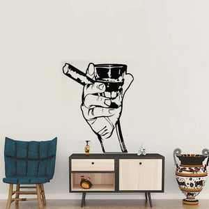 Hand Holding Cigar & Whiskey Man Cave Removable Vinyl Wall Sticker Decal