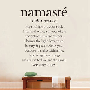 Namaste Definition Quote Vinyl Decal Sticker Decor for Home Bedroom, Dining Room or Yoga Studio