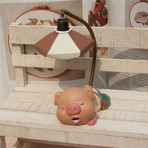 Battery LED Pig Children's Bedside Book Night Light Table Lamp Room Decor