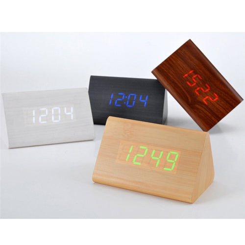 Wooden Digital Alarm Clock Modern USB & Battery Powered LED Clock for Home Office Desk or Bedroom