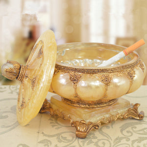 Vintage Antique Pearlescent Luxury Retro Ashtray with Lid Decor