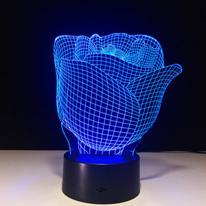 Rose Shaped Desk Night Light Lamp for Table or Home / Work Office
