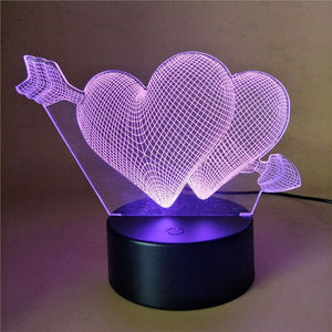 Cupid Heart Lamp with Multicolor LED Lights ; USB Remote Control Night Light Table Lamp