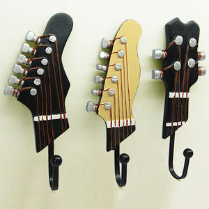 Retro Guitar Head Key, Coat or Hat Wall Mounted Hanger Hooks