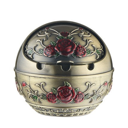 Beautiful Vintage Globe Shape Rose Ashtray With Cover