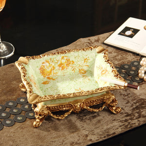 High End Retro Floral Painting Ash or Jewelry Tray