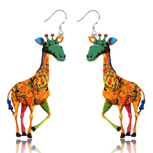 Womens Fashion Giraffe Dangle Earrings