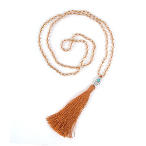 Boho Hamsa Hand Wall Hanging Tassel Necklace