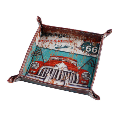 Car Garage Route 66 Man Cave Leather Coin or Key Trinket Tray