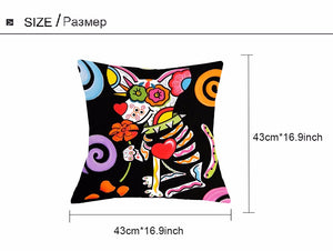 Sugar Skull Dog Pillow Cushion Case Cover : Pillow not Incuded