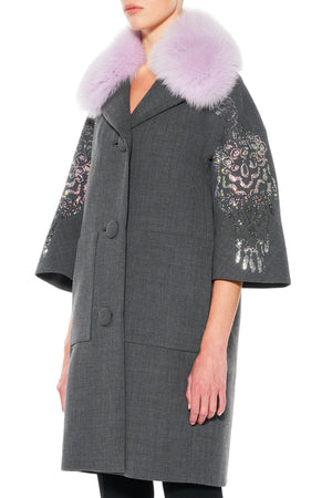 """PICASSO'S FLOWER"" PATCH POCKET COAT WITH FUR COLLAR - Women's Jackets & Coats - Libertine"