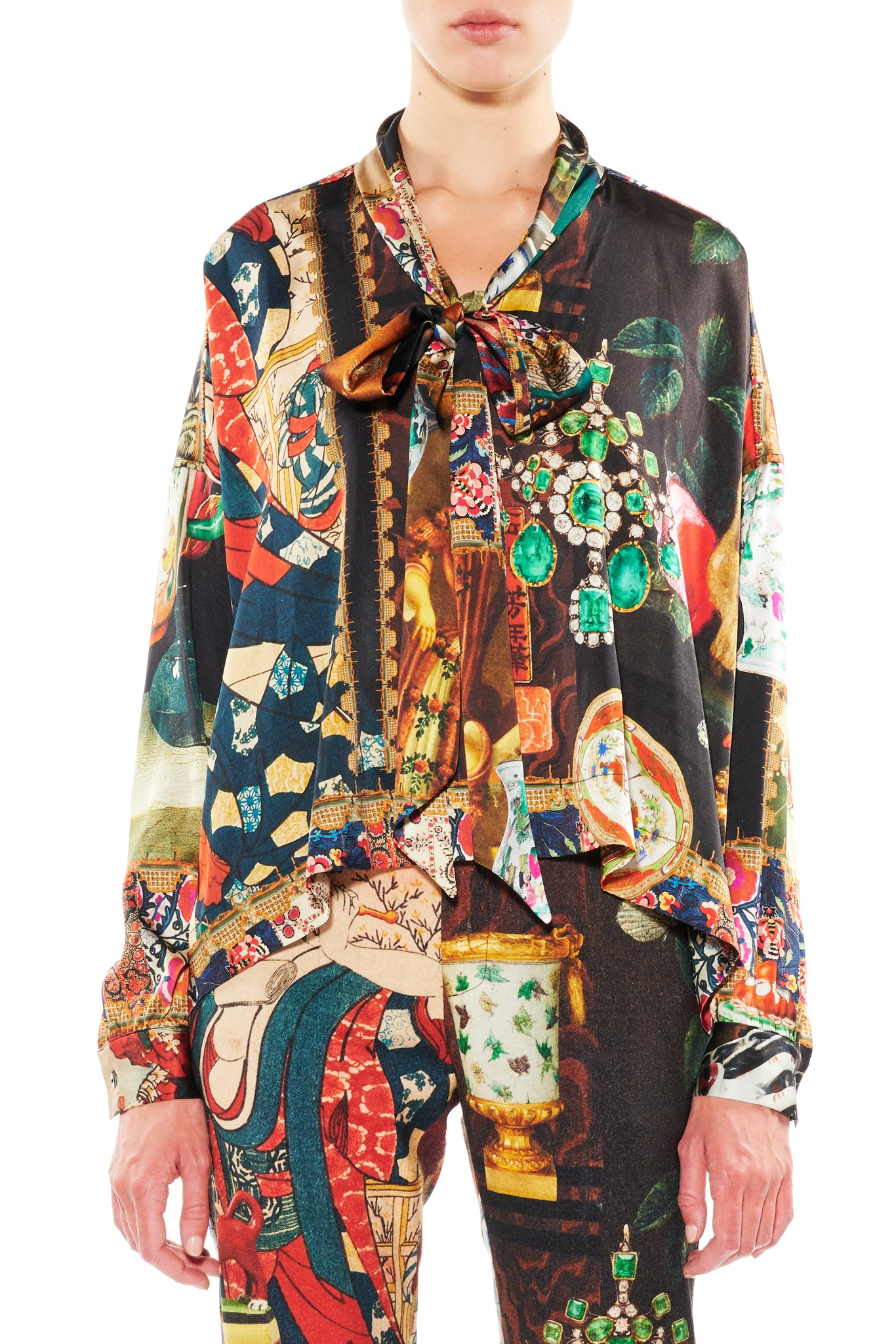 'MEMENTO MORI' TIE BLOUSE - Web Exclusives - Libertine