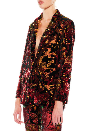 RED ORANGE SEQUIN AND VELVET LONG BLAZER - Women's Jackets & Coats - Libertine