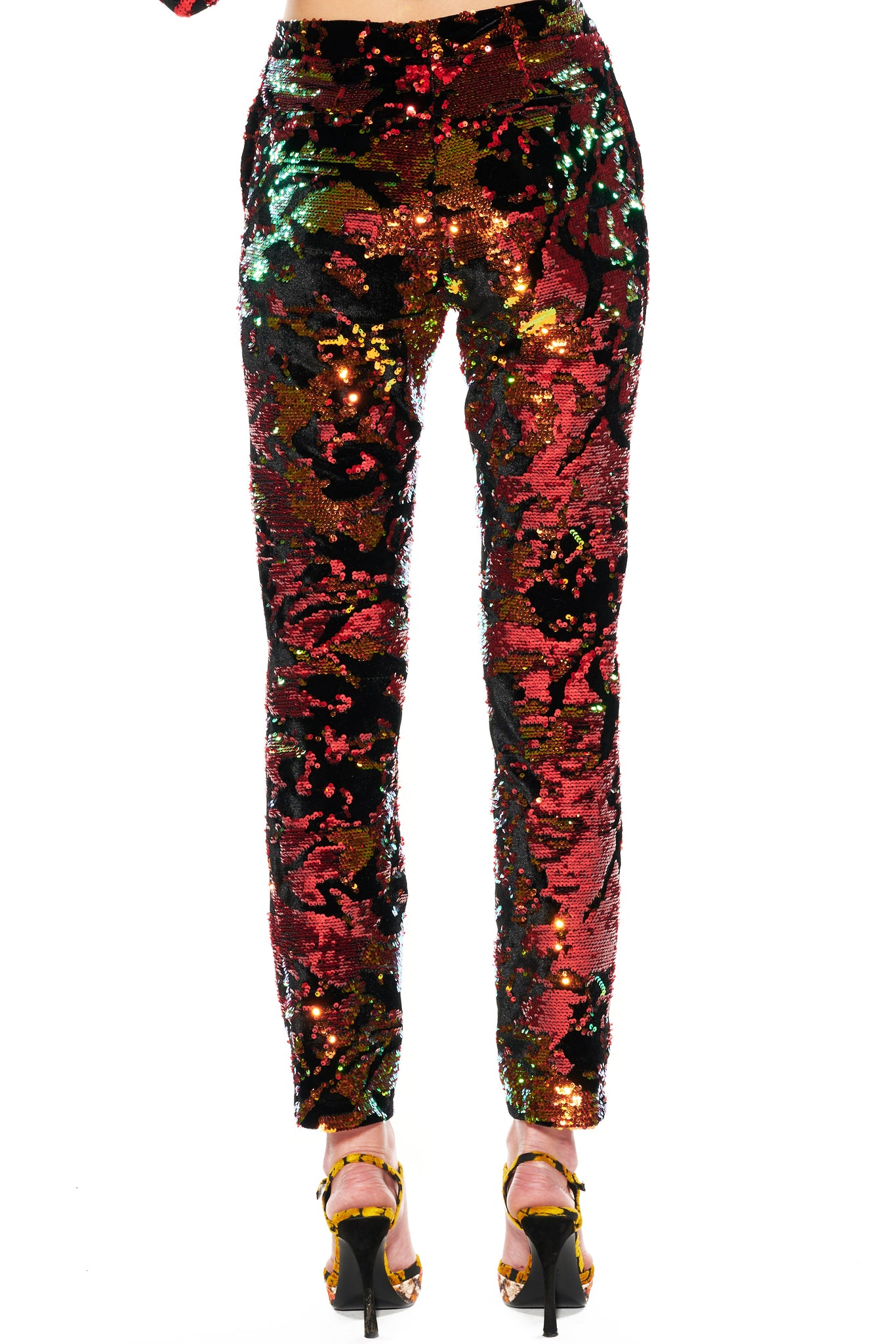 RED ORANGE SEQUIN AND VELVET PANTS - Women's Bottoms - Libertine
