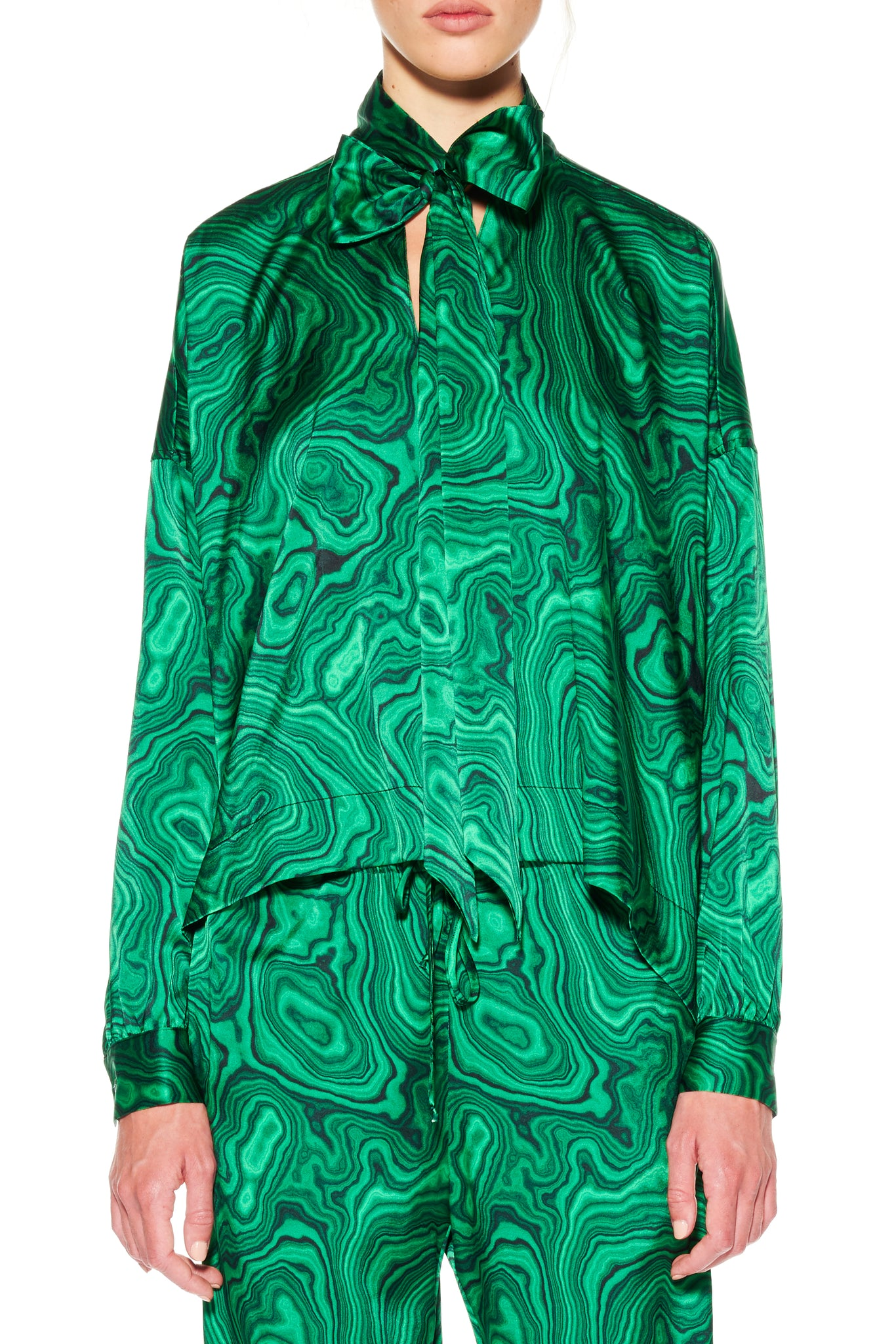 ''HIGH AS A MALACHITE'' TIE BLOUSE - Women's Tops - Libertine