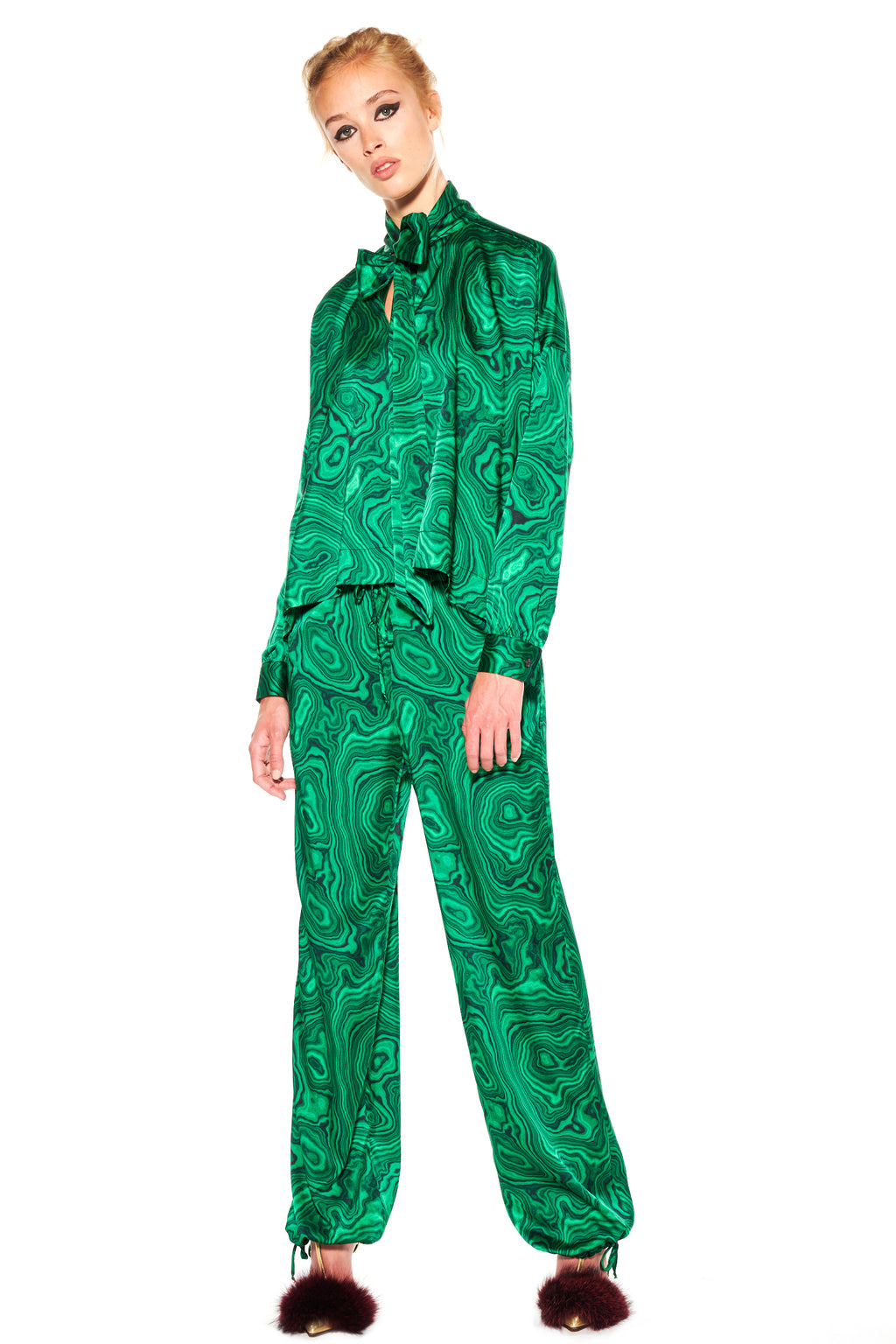 """HIGH AS A MALACHITE"" TIE BLOUSE - Women's Tops - Libertine"