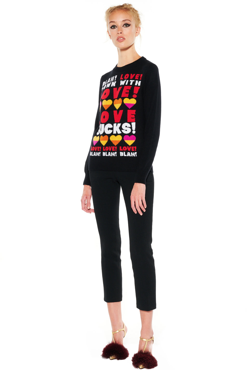 """DOWN WITH LOVE"" CASHMERE PULLOVER - Women's Knits - Libertine"