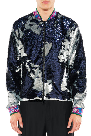 """NAVY AND SILVER"" SEQUIN DRIVER JACKET - Men's Jackets & Coats - Libertine"