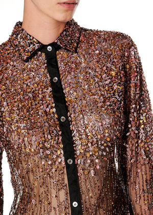 Dripping Beads Tulle Classic Shirt - Women's Tops - Libertine