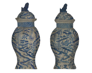 PAIR OF CHINESE BLUE AND WHITE VASES DUMMY BOARD - Accessories - Libertine