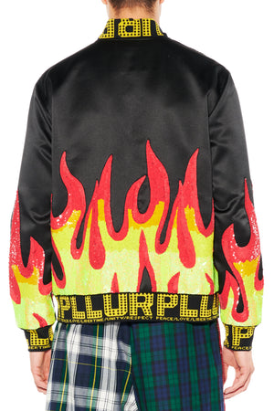 SEQUIN FLAMES BOMBER JACKET - Men's Jackets & Coats - Libertine