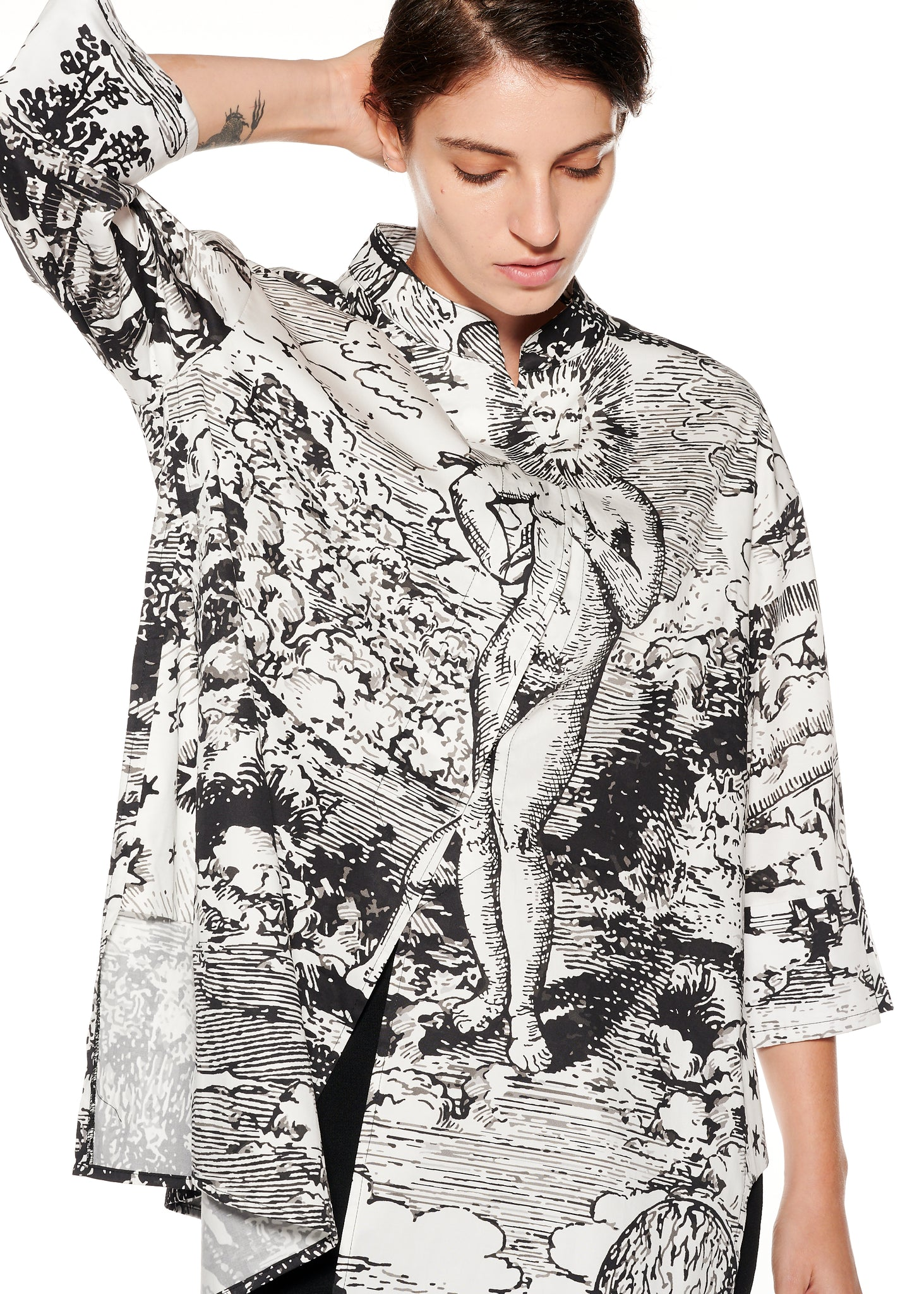 """Modern Toile"" Painters Smock Shirt - Women's Tops - Libertine"