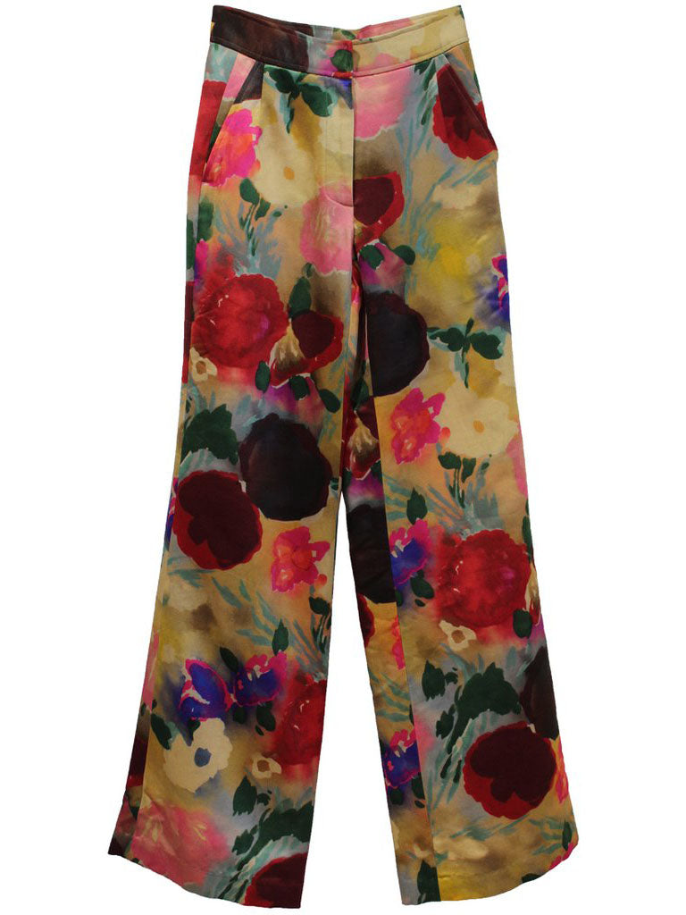"""BLOOMSBURY GROUP"" PAINTED FLOWERS WIDE LEG PANTS - Women's Bottoms - Libertine"