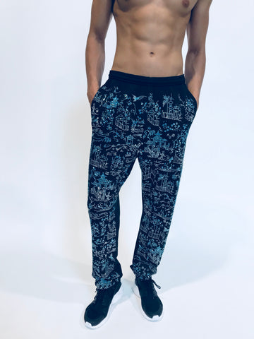 """HONG KONG GARDEN"" CHINOISERIE SWEATPANTS - Men's Bottoms - Libertine"